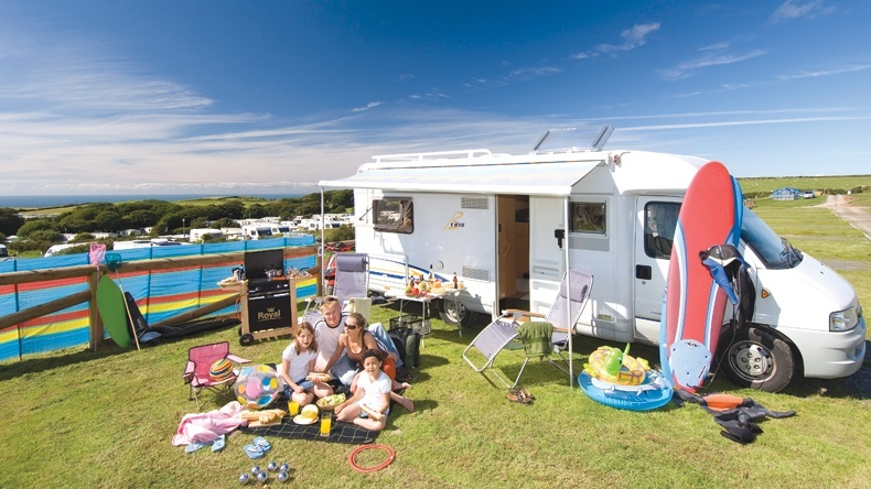 Electric Motorhome Grass Touring Pitch Twitchen House Woolacombe