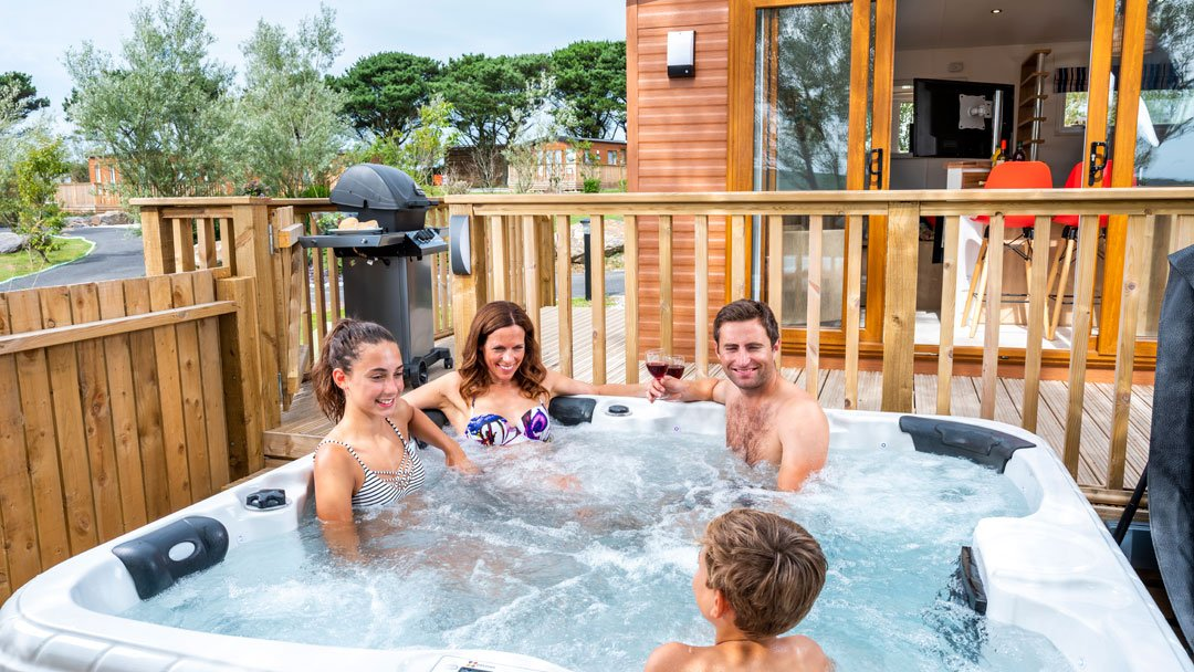 Caravan with hot tub in Woolacombe Holiday Park