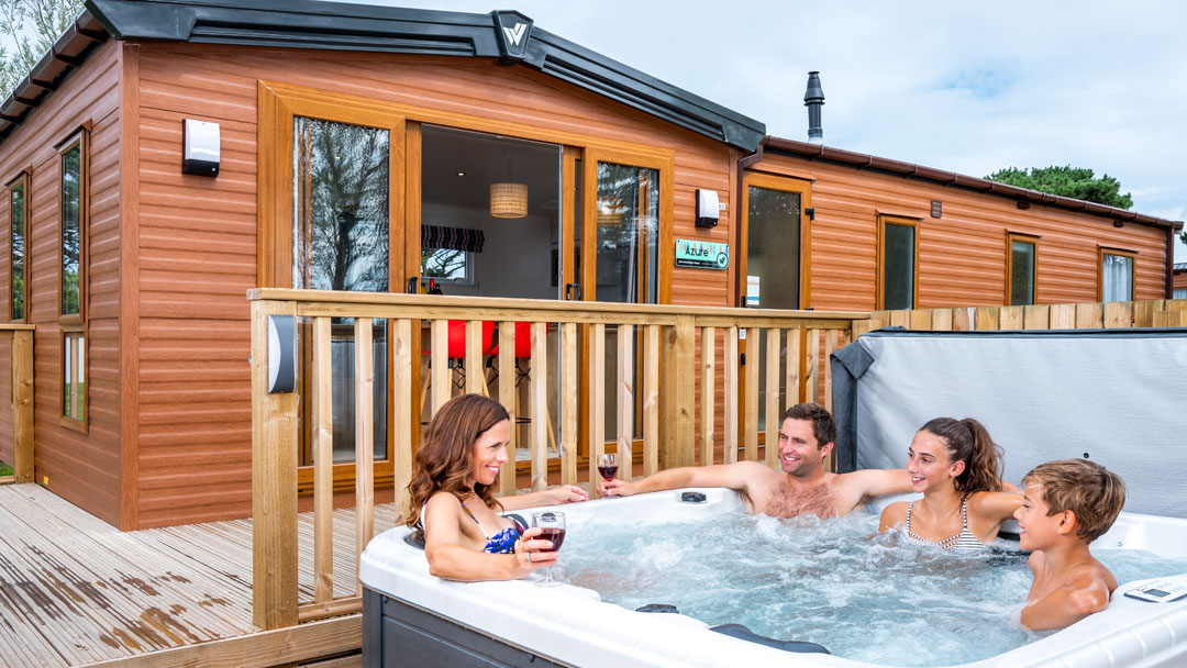 Holiday caravan hot tub